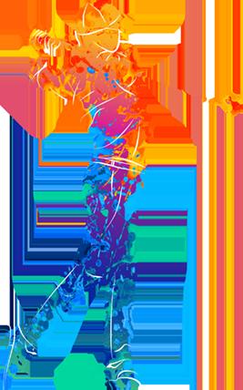 bunte figur spielt golf